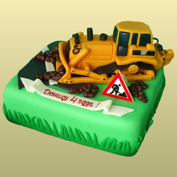 Детский торт экскаватор