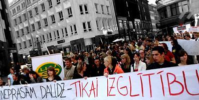 Митинг студентов в Риге