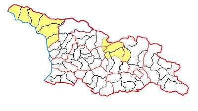 Абхазия и Южная Осетия на карте